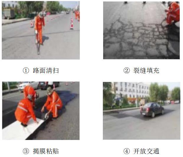 沥青混凝土路面龟裂网裂修补专用网裂贴